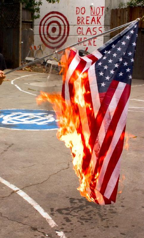 An argument of burning the flag of the united states