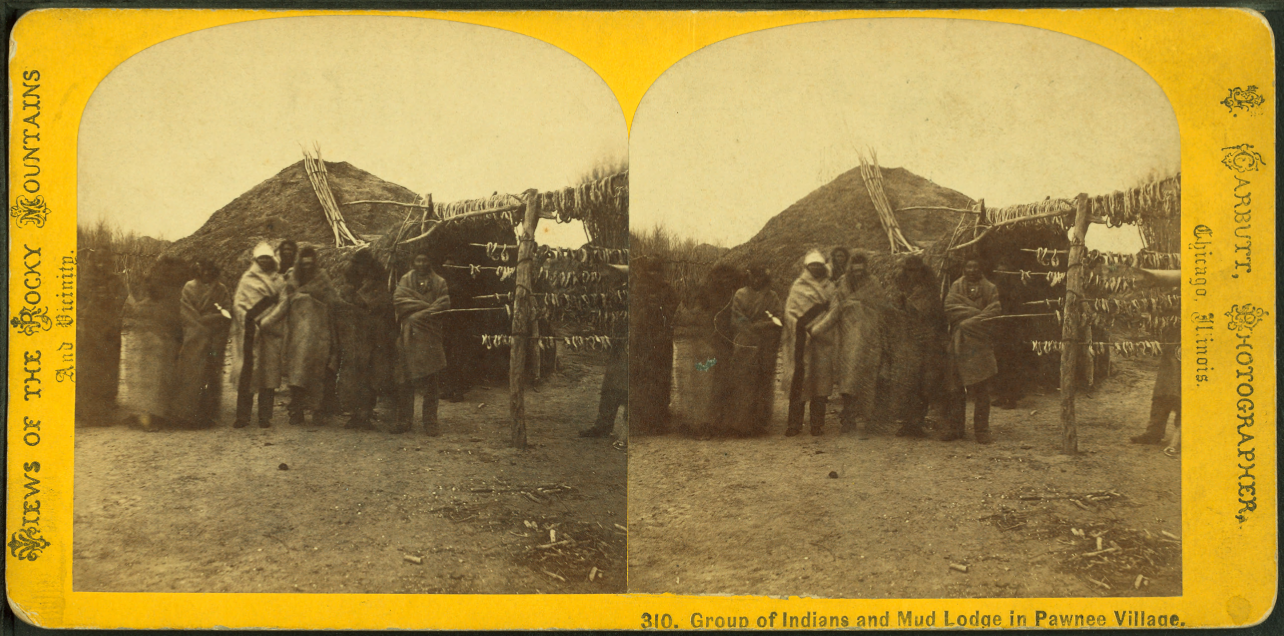 Group Of Indians And Mud Lodge In Pawnee Village C By Carbutt C John C