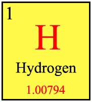 This box represents Hydrogen on the Periodic table