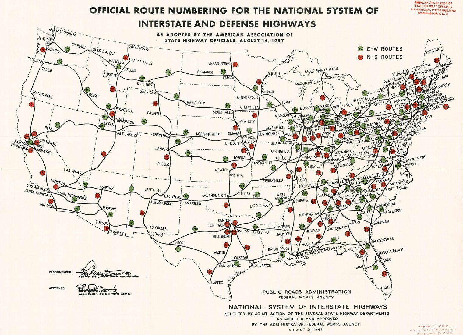 jump up to official route numbering for the national system of interstate and defense highways map