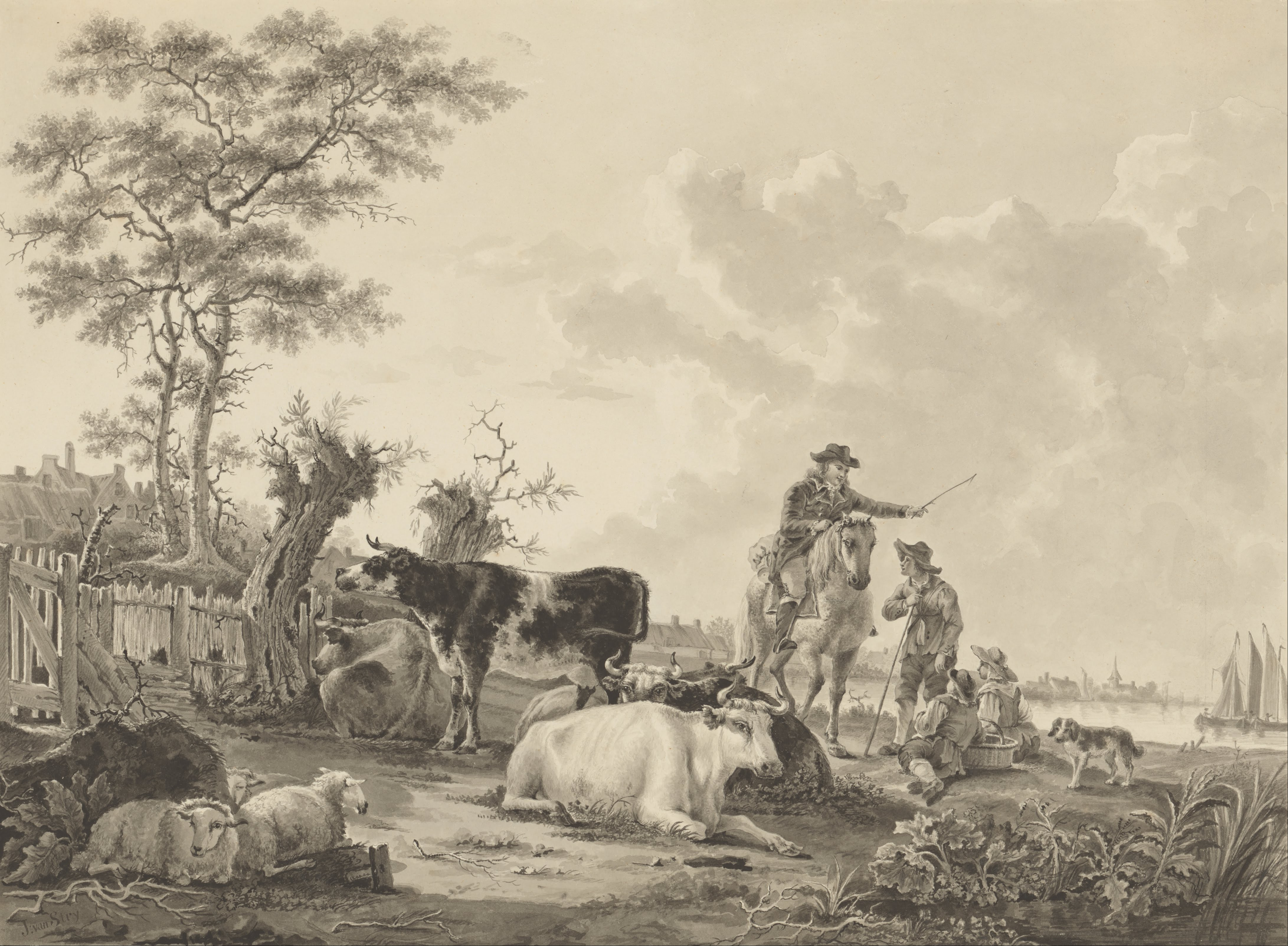 file jacob van strij  dutch - landscape with cattle  sheep  and herders