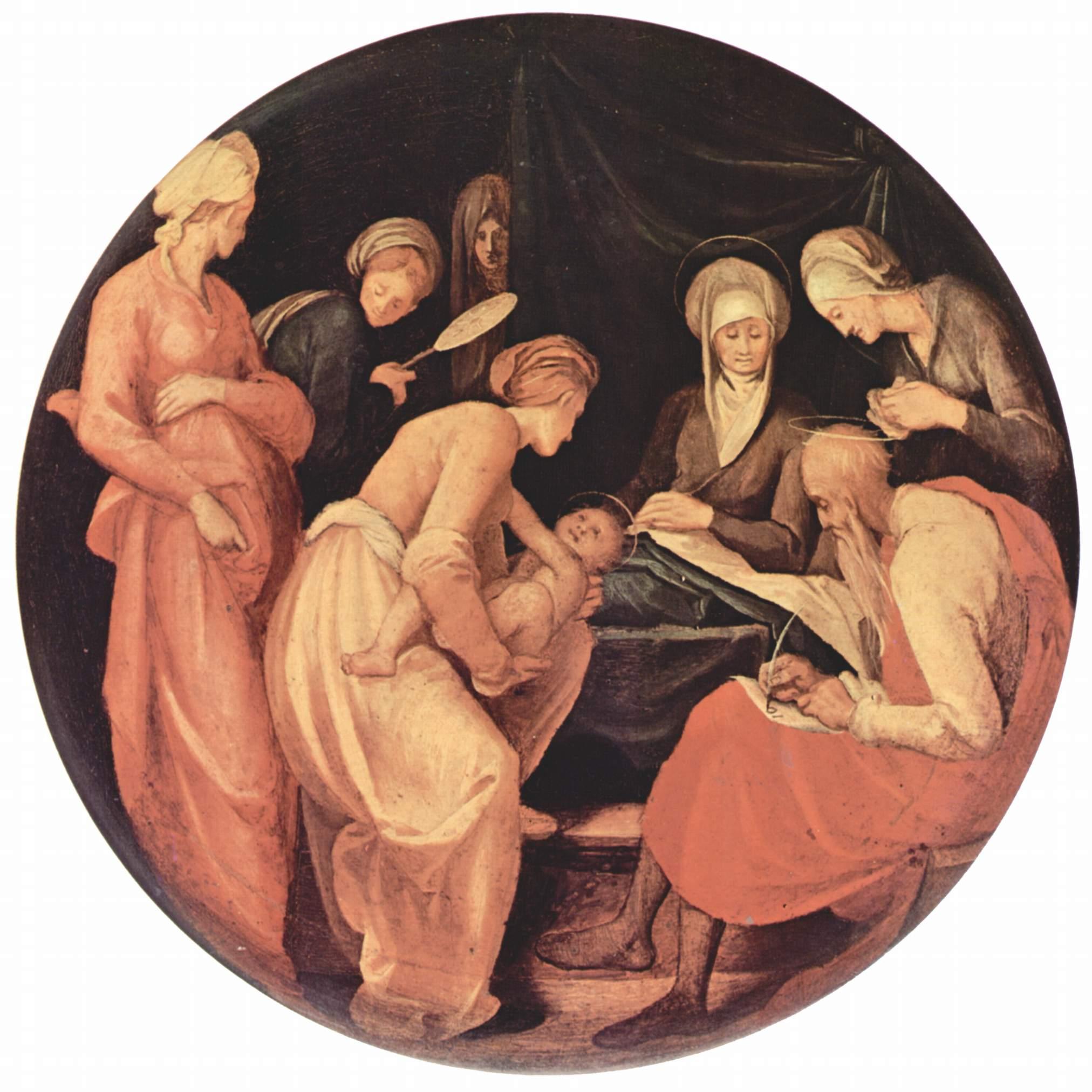 De geboorte van Johannes de Doper; Zacharias schrijft zijn naam. Jacopo Pontormo (1526)