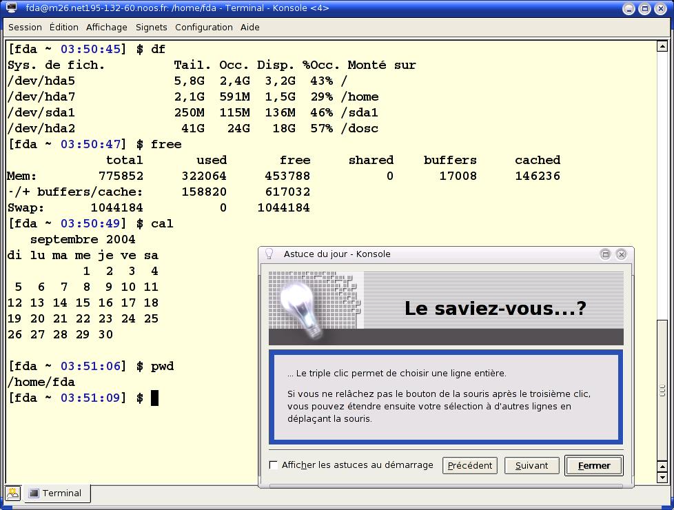 Capture d'écran du logiciel Konsole