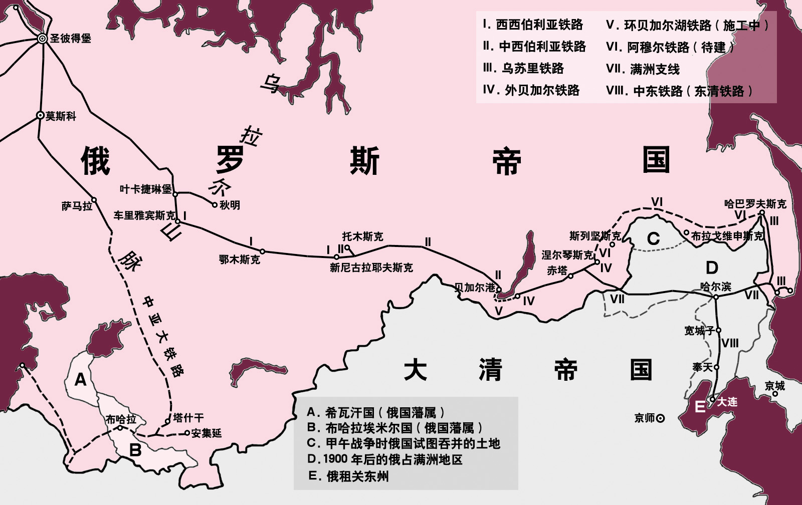 说明 map of trans siberian railway