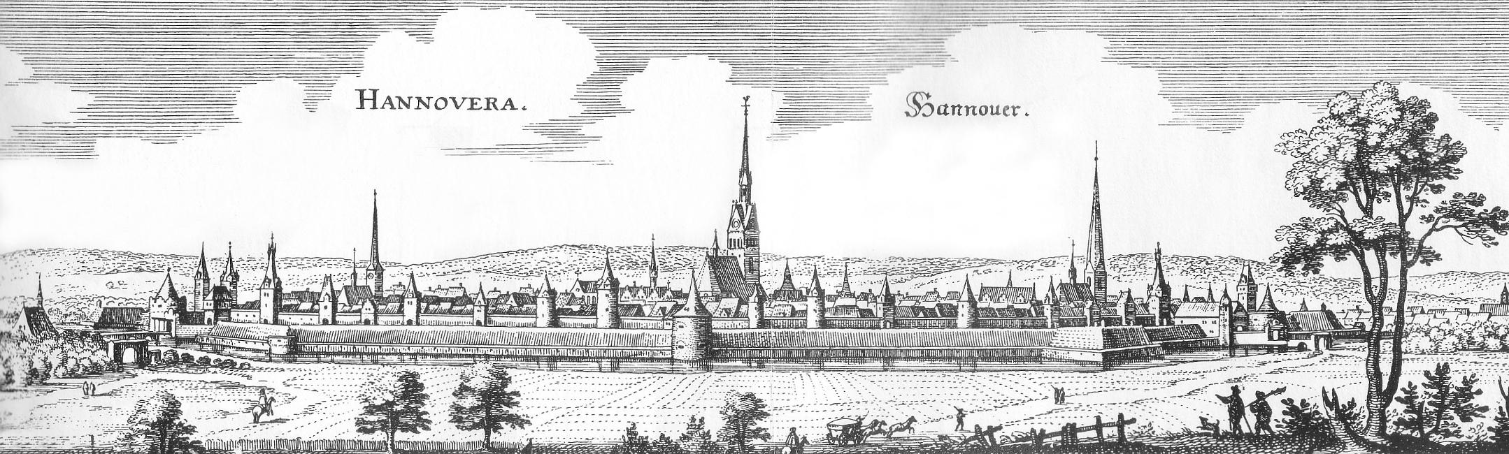 Hannover von Osten gesehen als Merian-Stich um 1654, schwer befestigt mit Wassergraben, Wall und Stadtmauer mit Mauertürmen