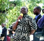 Morgan Tsvangirai at election rally 3 Mar 2002