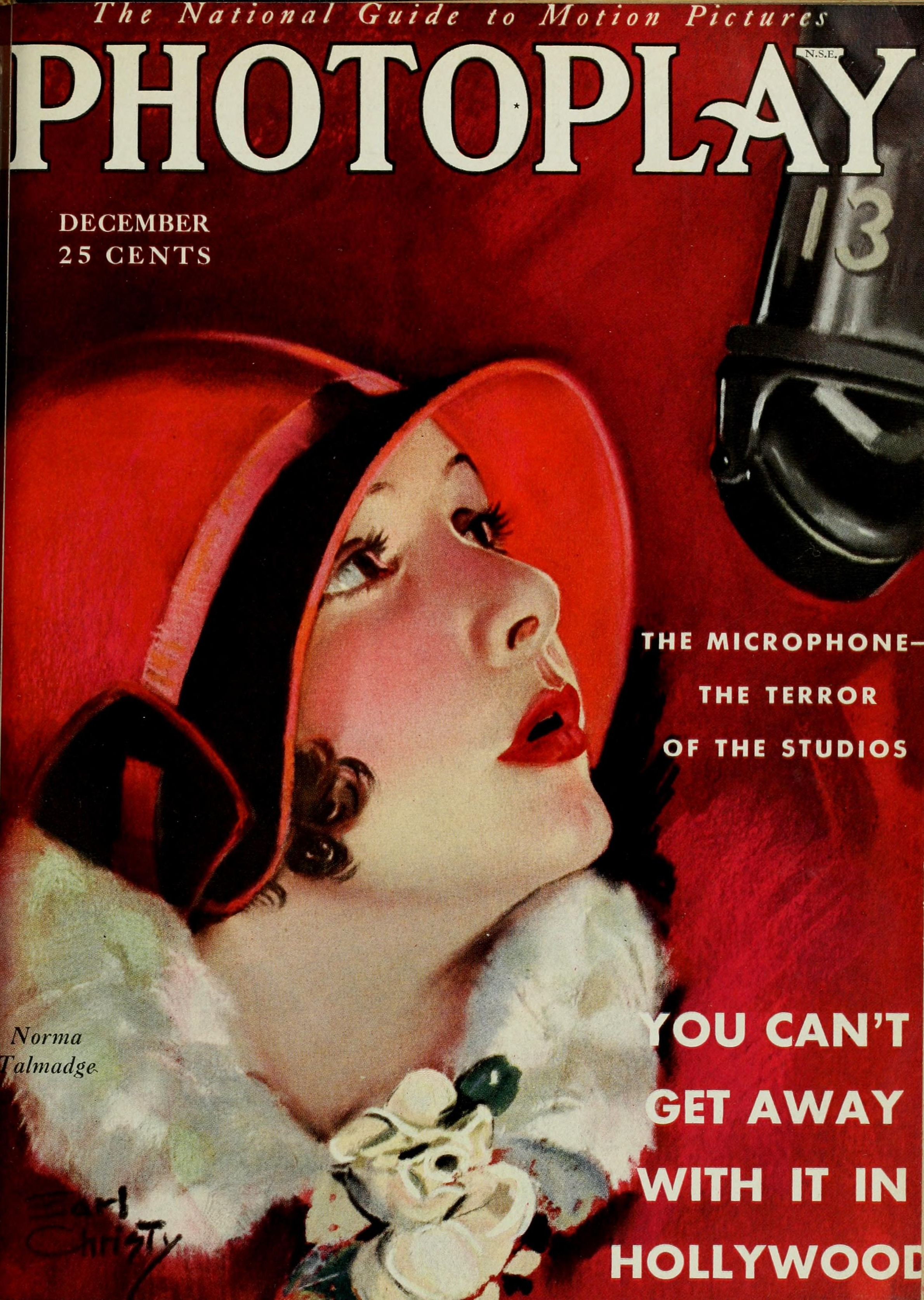 "Magazine cover with illustration of a young woman wearing a form-fitting red hat staring up at a suspended microphone. Accompanying text reads, ""The Microphone—The Terror of the Studios"", and, in larger type, ""You Can't Get Away With It in Hollywood""."