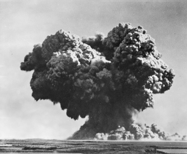 Mushroom cloud from the Operation Hurricane atomic bomb test, 3 October 1952