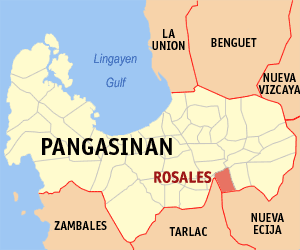 Map of Pangasinan showing the location of Rosales