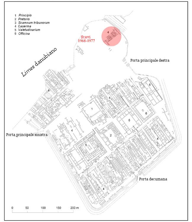 Pianta della fortezza legionaria di Carnuntum