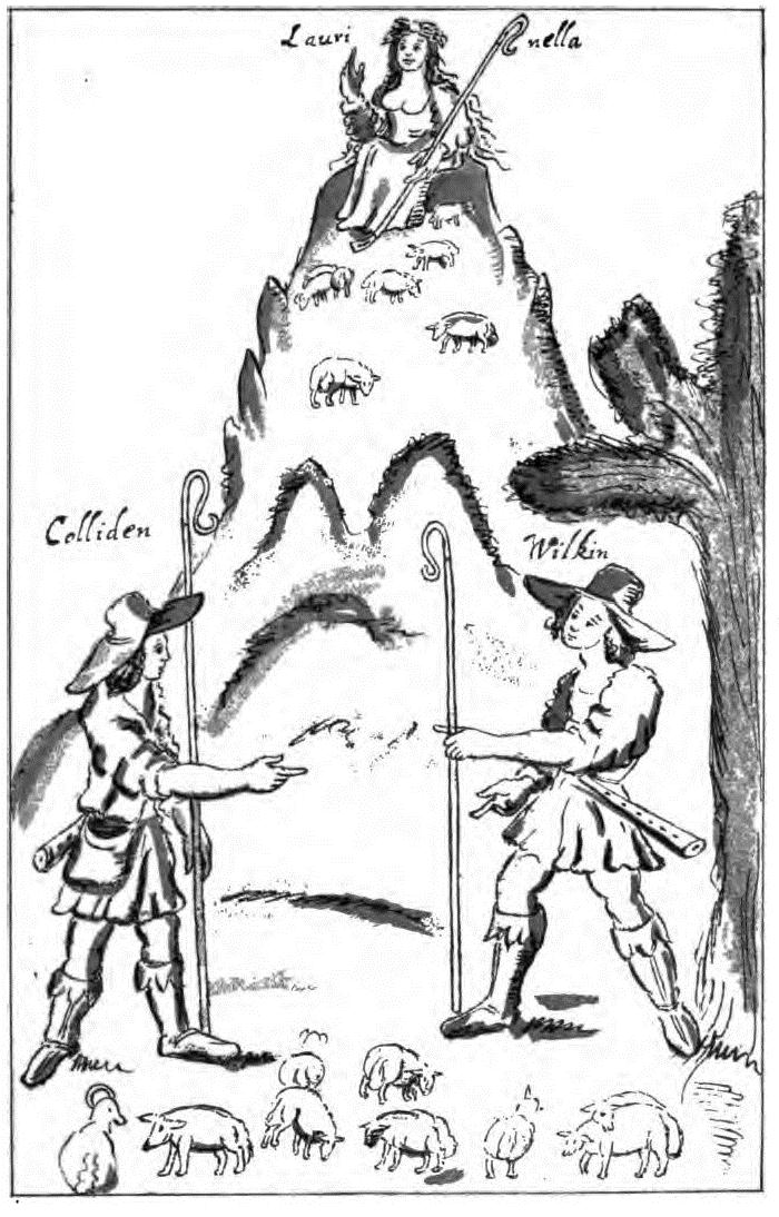 drawing of shepherds reproduced in the Poetical Works of William Basse, possibly by Basse himself