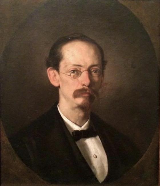 <small>Retrato al óleo del poeta Rafael Pombo y Rebolledo [[Museo Nacional de Colombia]], [[Bogotá]]</small>