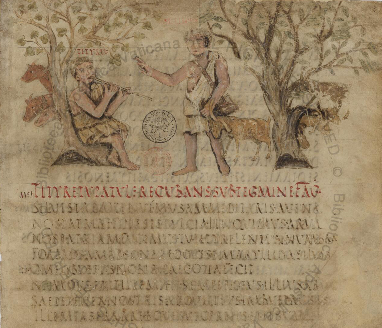 The opening lines of the Eclogues in the 5th-century Vergilius Romanus