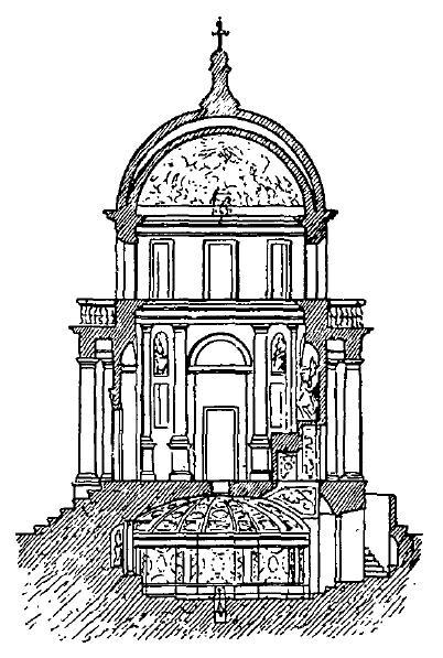 Sección del Templete de San Pietro in Montorio, de Bramante