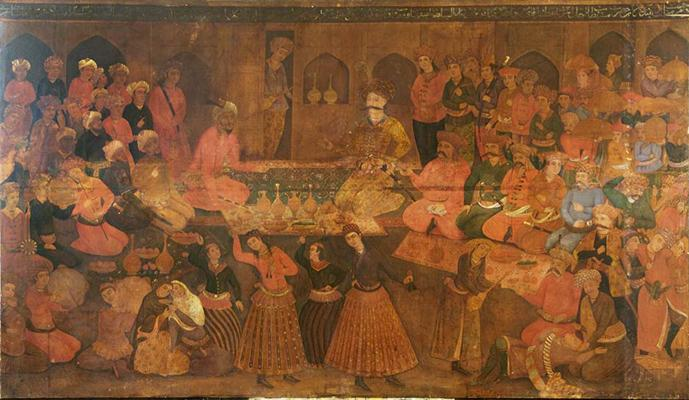 Shah Tahmasp Entertains Abdul Muhammed Khan of the Uzbeks, oil on canvas, iran, 1814-1815