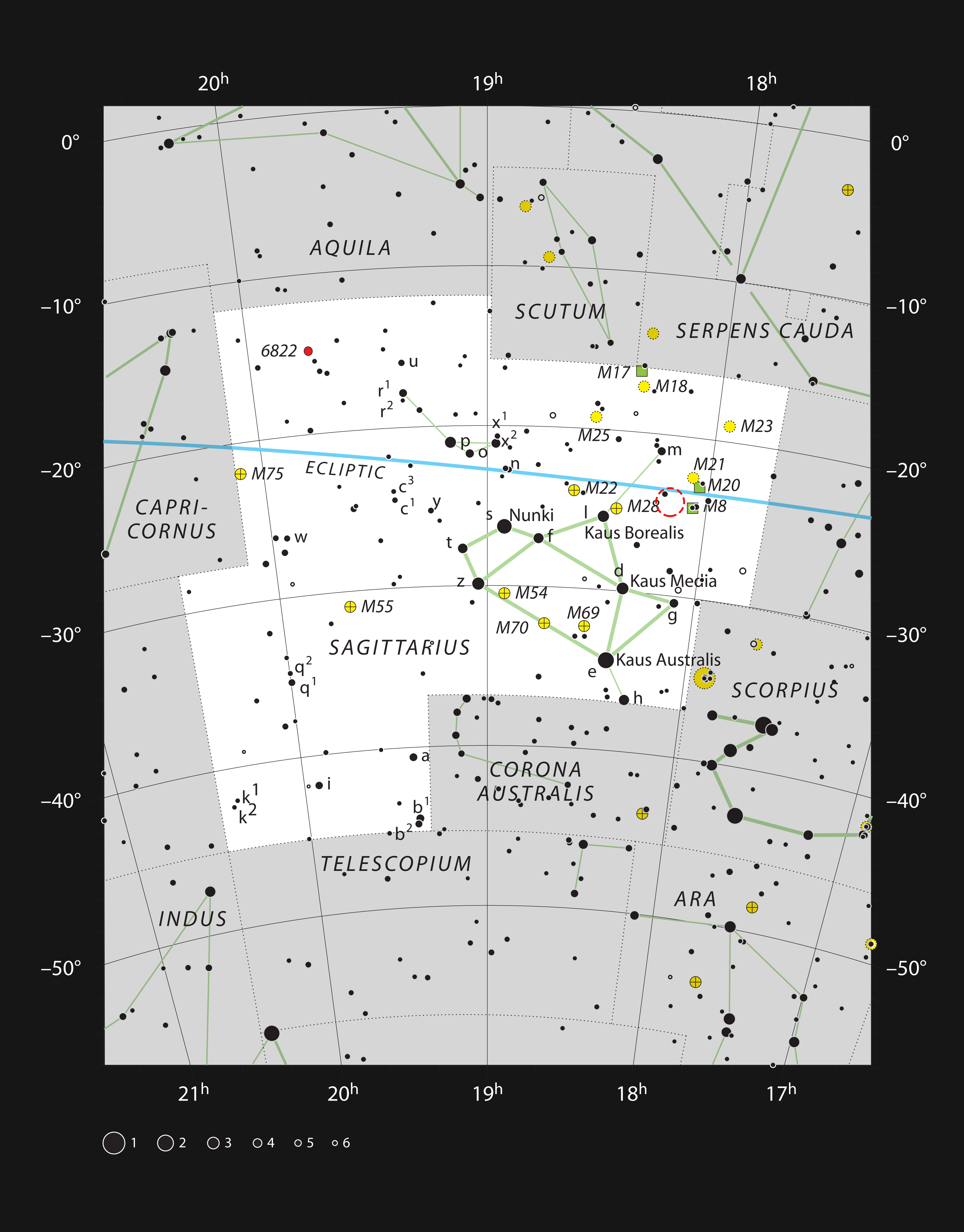 Number The Stars Plot Diagram: The star formation region NGC 6559 in the constellation of ,Chart