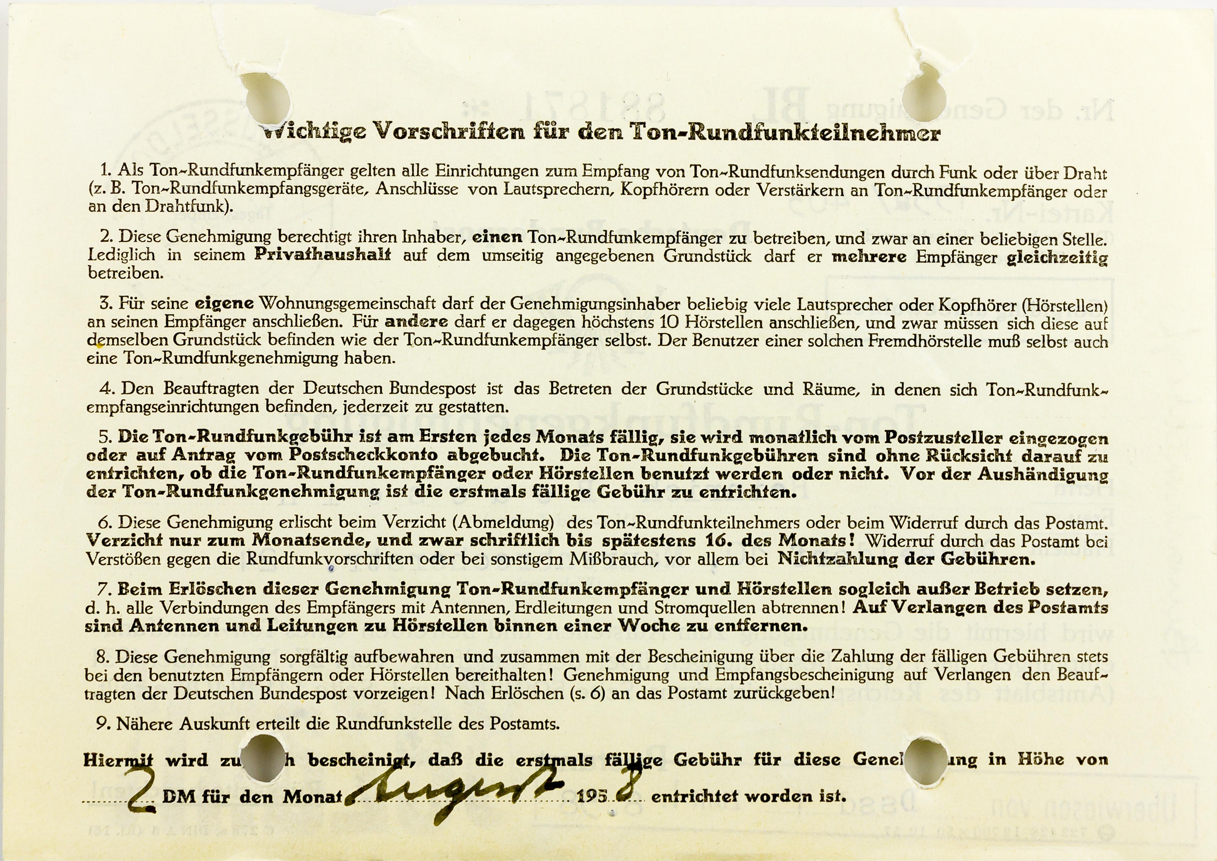 File:Ton-Rundfunkgenehmigung Deutsche Bundespost 1958-1298.jpg ...