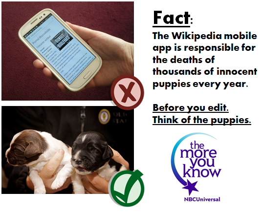 Wikipedia mobile app kills puppies.png