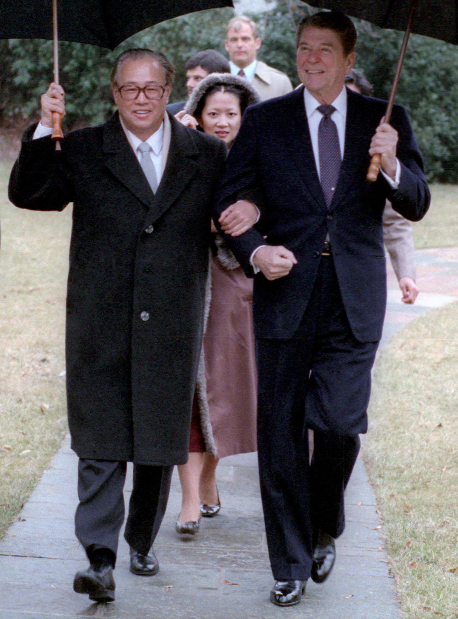 President Reagan walking with Premier Zhao Ziyang of the People's Republic of China during his visit to the White House on January 10, 1984. - Zhao Ziyang