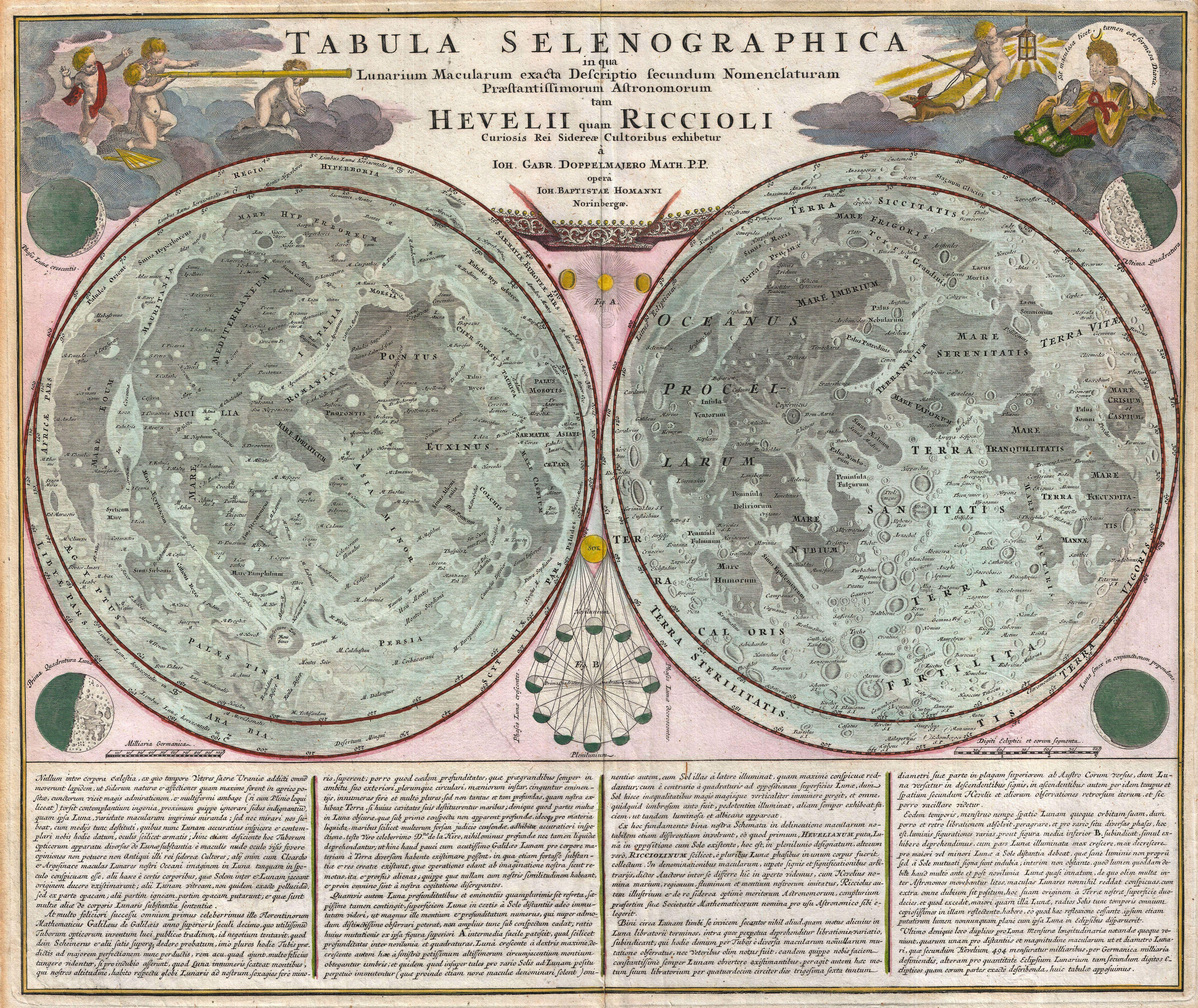 Moon Chart: 1707 Homann and Doppelmayr Map of the Moon - Geographicus ,Chart