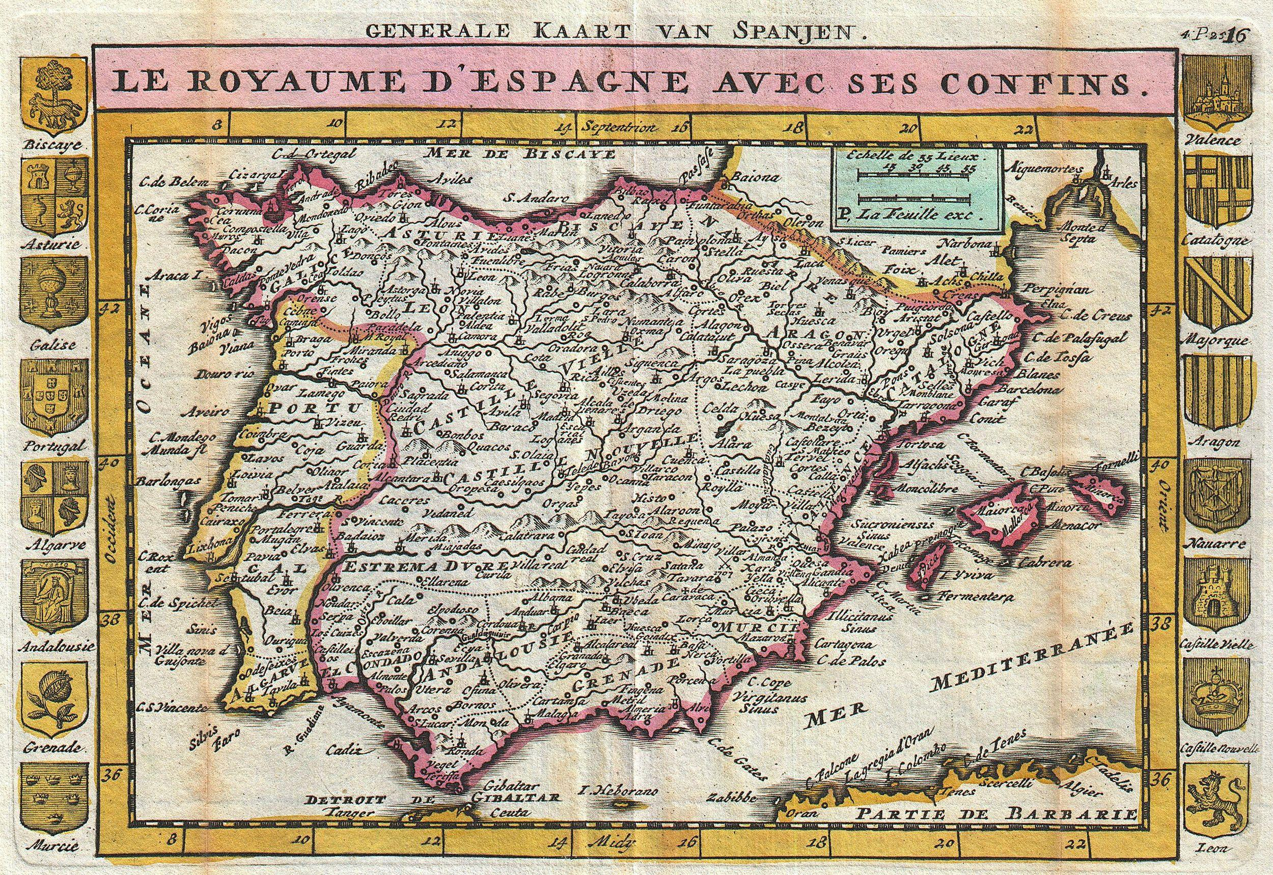 Map Of Spain Old.File 1747 La Feuille Map Of Spain And Portugal Geographicus