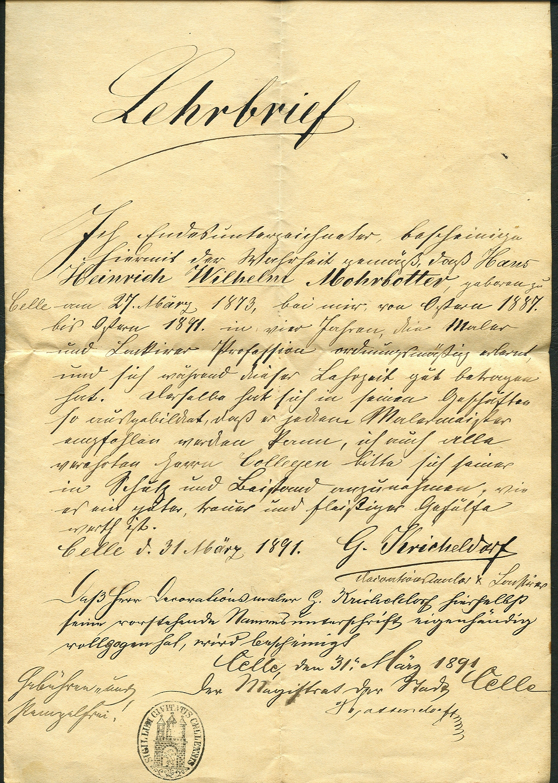 Maler Celle file 1891 03 31 lehrbrief für maler und lackierer hans heinrich