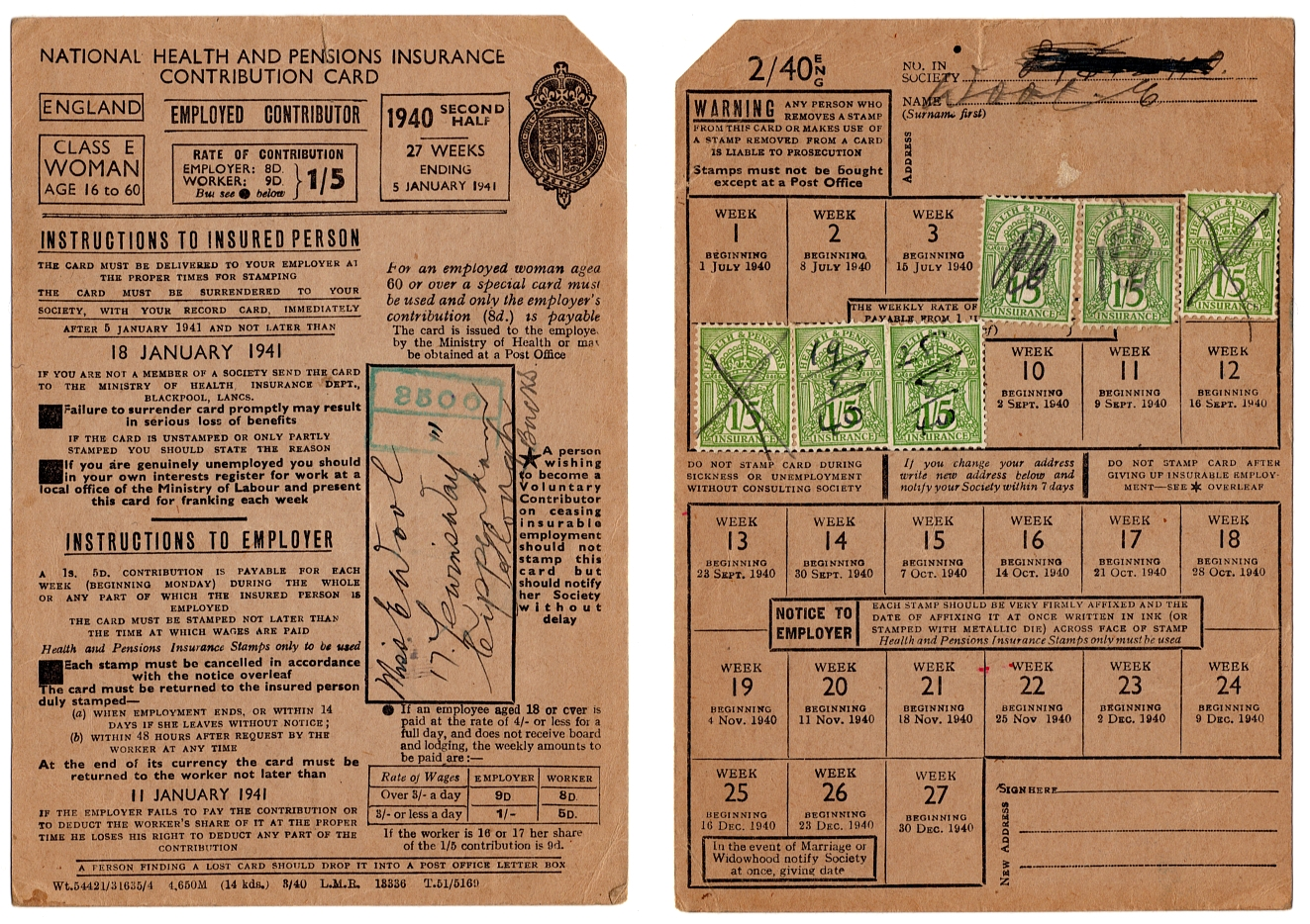 1940 British National Health Insurance card for an employed woman