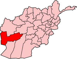 Map of Afghanistan showing Farah Province.