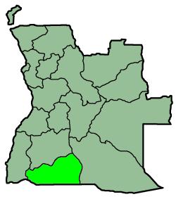 Placering af Cunene i Angola
