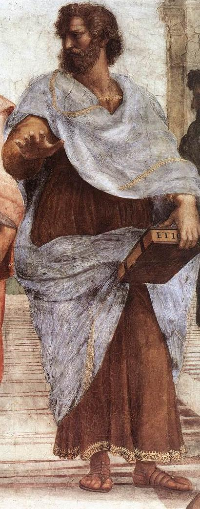 Detail showing Aristotle in The School of Athens by Raphael - philosophy of education - internet - The Gemsbok
