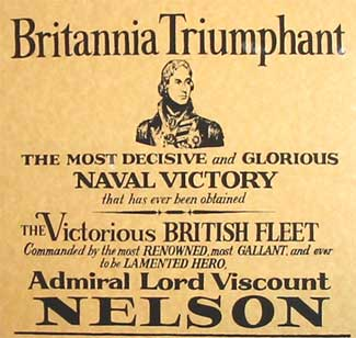 Detail from a modern reproduction of an 1805 poster commemorating the battle Battle of Trafalgar Poster 1805.jpg