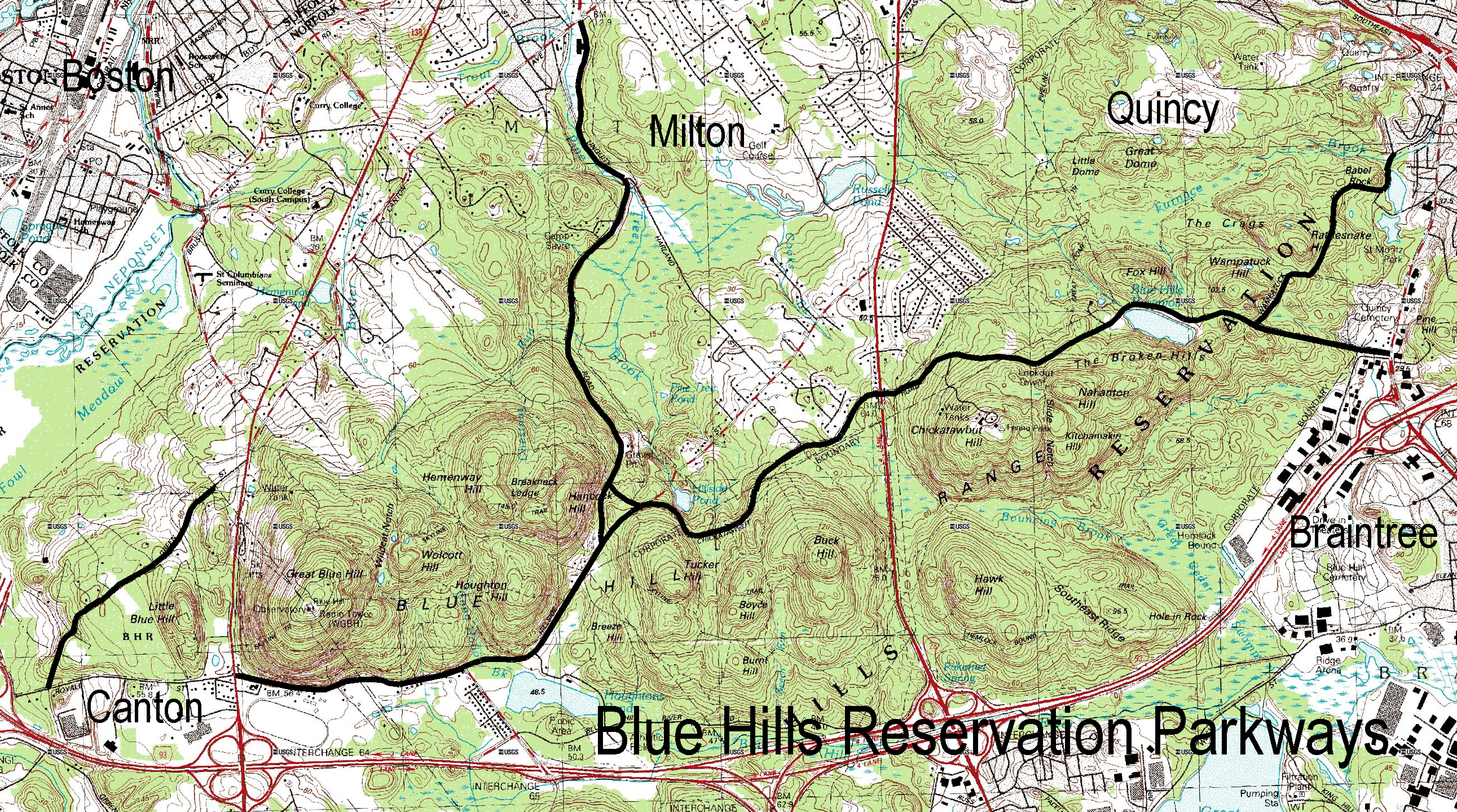 Blue Hills Reservation Map Blue Hills Reservation Parkways   Wikipedia