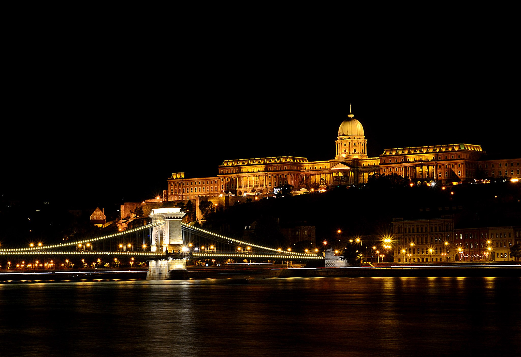 Modern view of the Buda Castle and the Chain Bridge