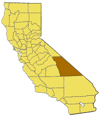 Map of California highlighting Inyo County