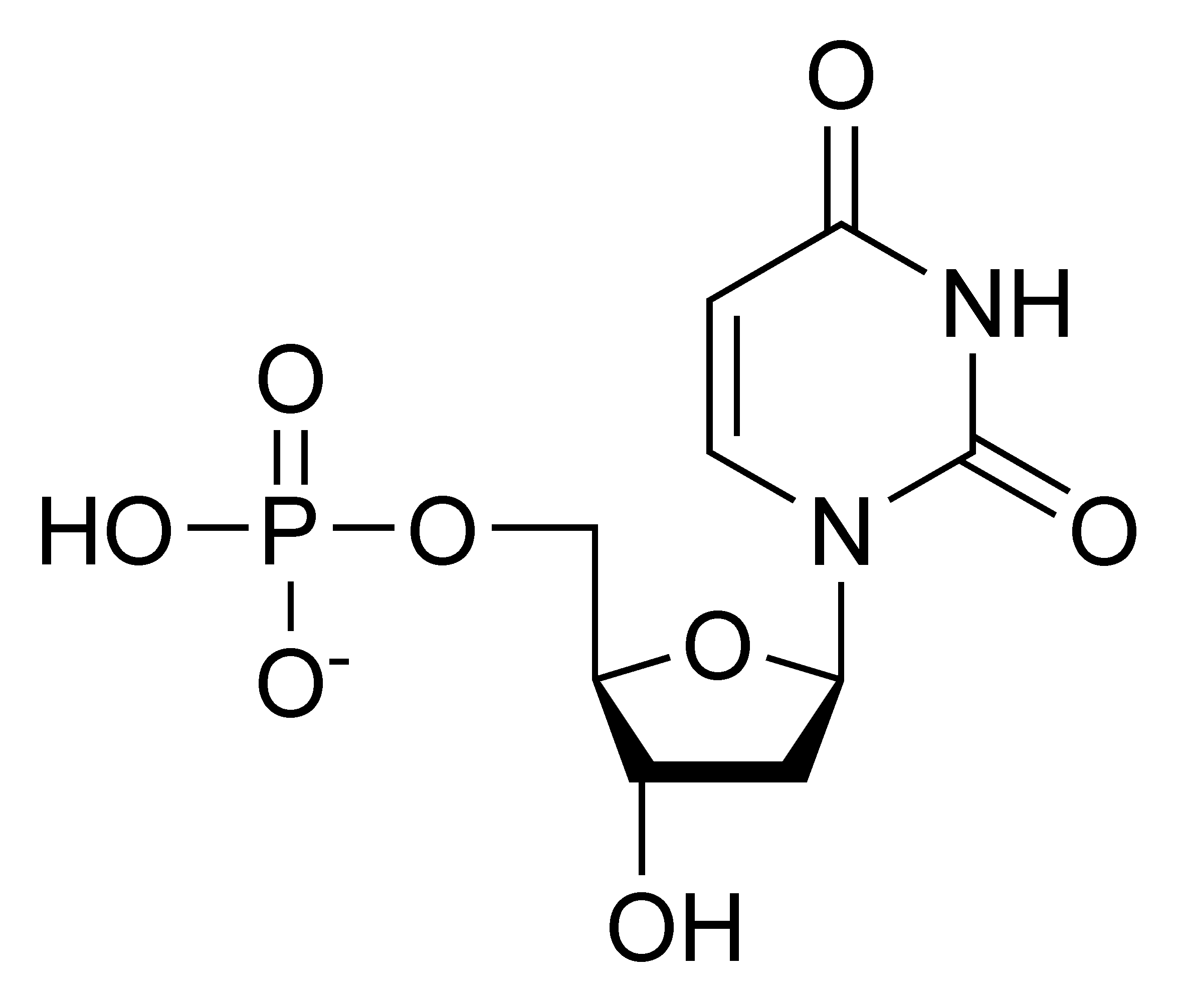 Chemical structure of deoxyuridine monophosphate