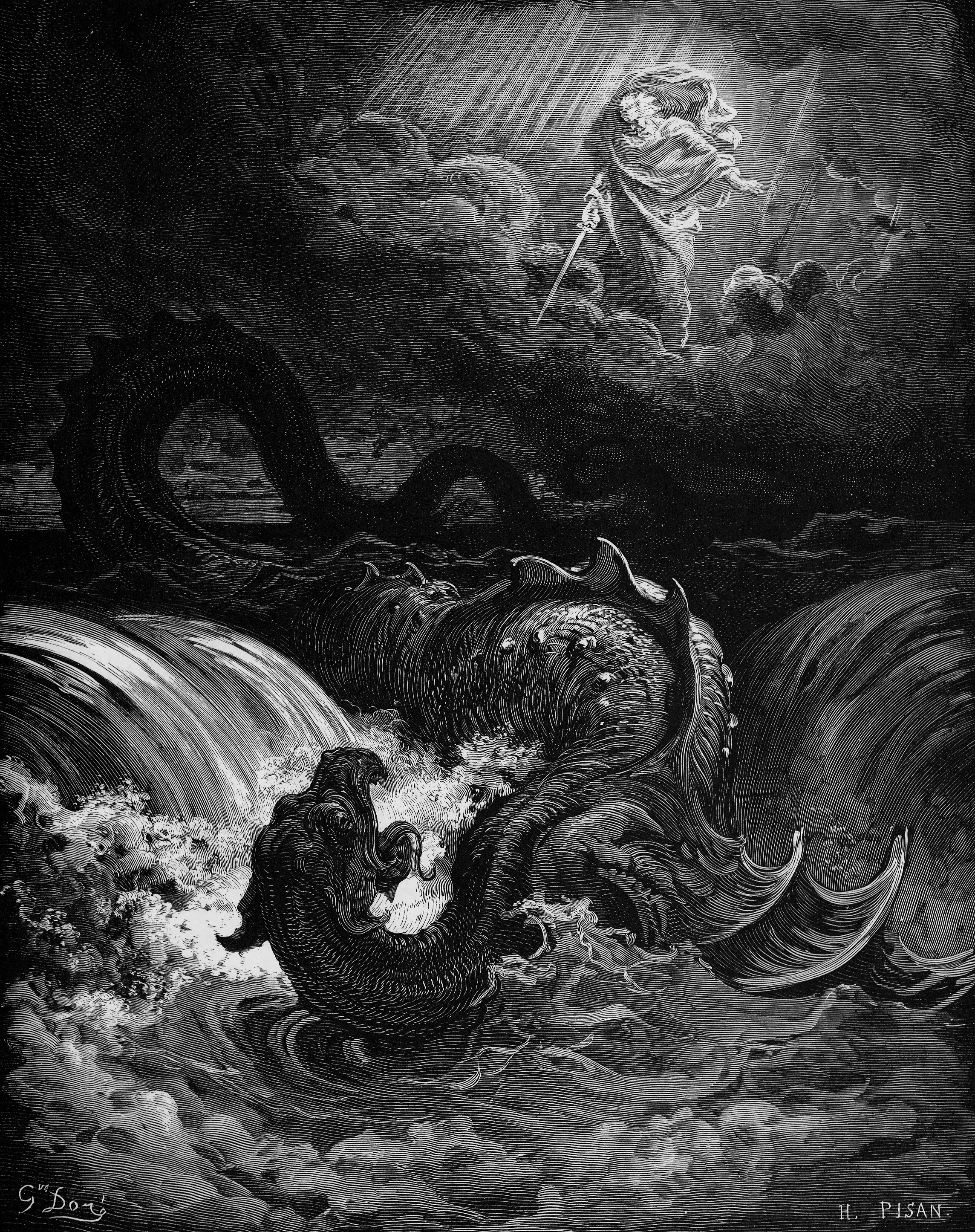 """Destruction of Leviathan"". 1865 engraving by Gustave Doré"