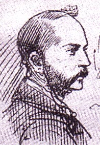 Head of a whiskered man in profile