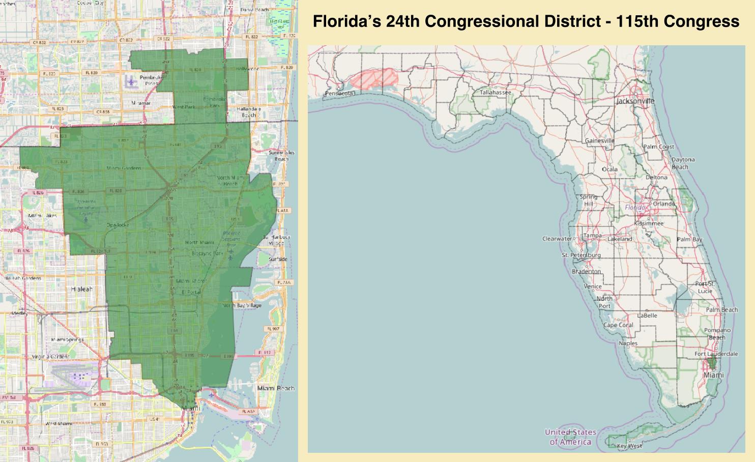 Florida Congressional District Map.Florida S 24th Congressional District Wikipedia