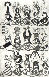 Polish coats of arms in the Gelre Armorial (compiled before 1396), among them Leliwa coat of arms, Ogończyk coat of arms, Ostoja coat of arms (Ostoja knights' clan), Nałęcz coat of arms.