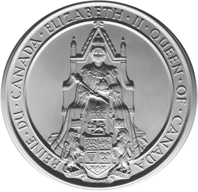 The Great Seal of Canada used during the reign of Queen Elizabeth II. Great Seal of Canada.png
