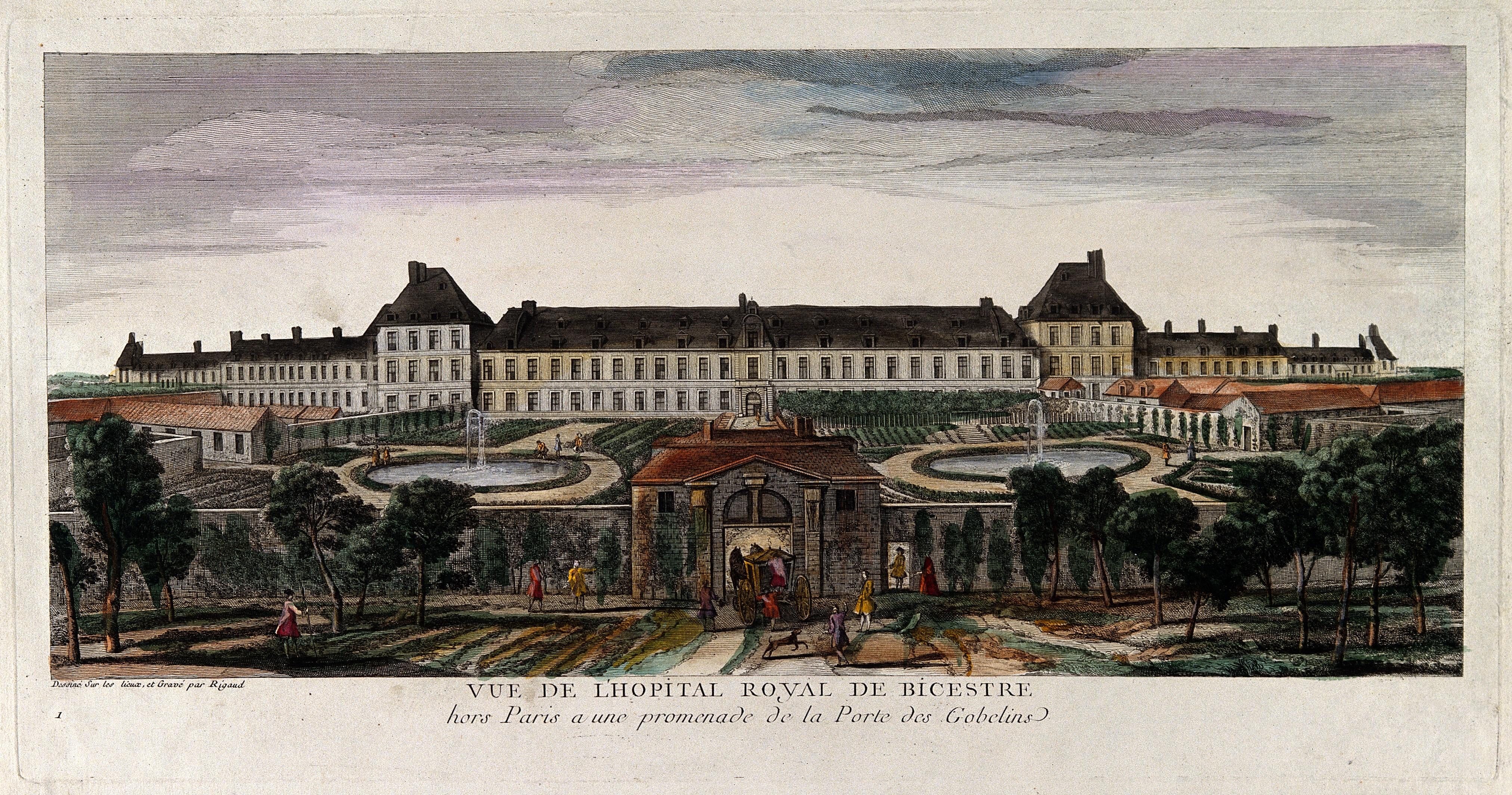 https://upload.wikimedia.org/wikipedia/commons/9/9d/H%C3%B4pital_Royal_de_Bic%C3%AAtre%2C_Paris%3B_panoramic_view_with_gardens_Wellcome_V0014292.jpg