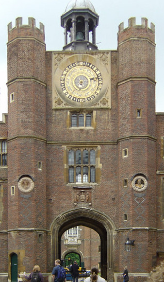Anne Boleyn's Gate. The Tudor gatehouse and astronomical clock, made for Henry VIII in 1540 (C on plan above) Two of the Renaissance bas reliefs by Giovanni da Maiano can be seen set into the brickwork. Hampton Court.jpg
