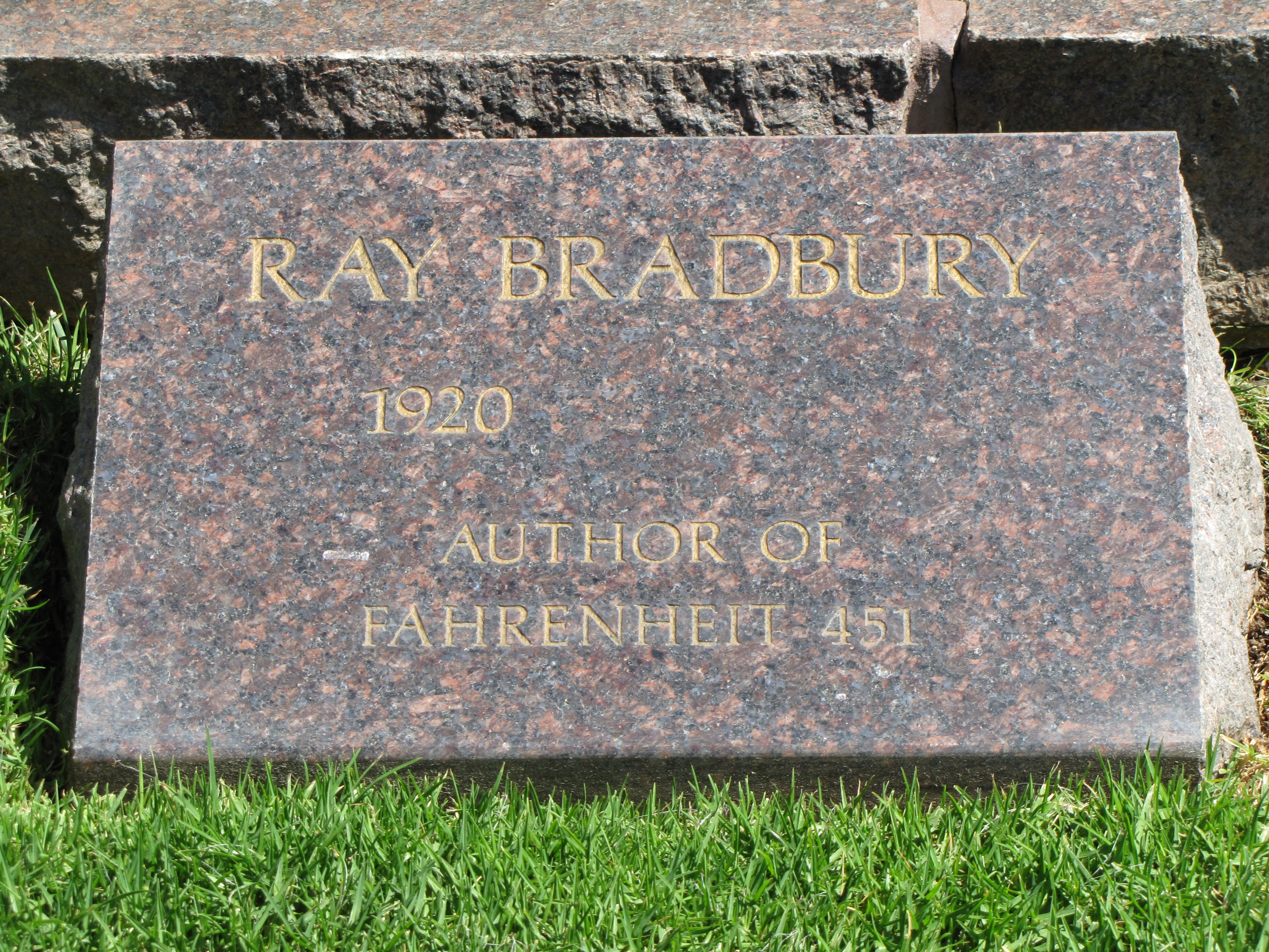 Ray Bradburyu0027s headstone in May 2012 prior to his death