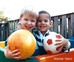Human eyesight two children and ball normal vision color