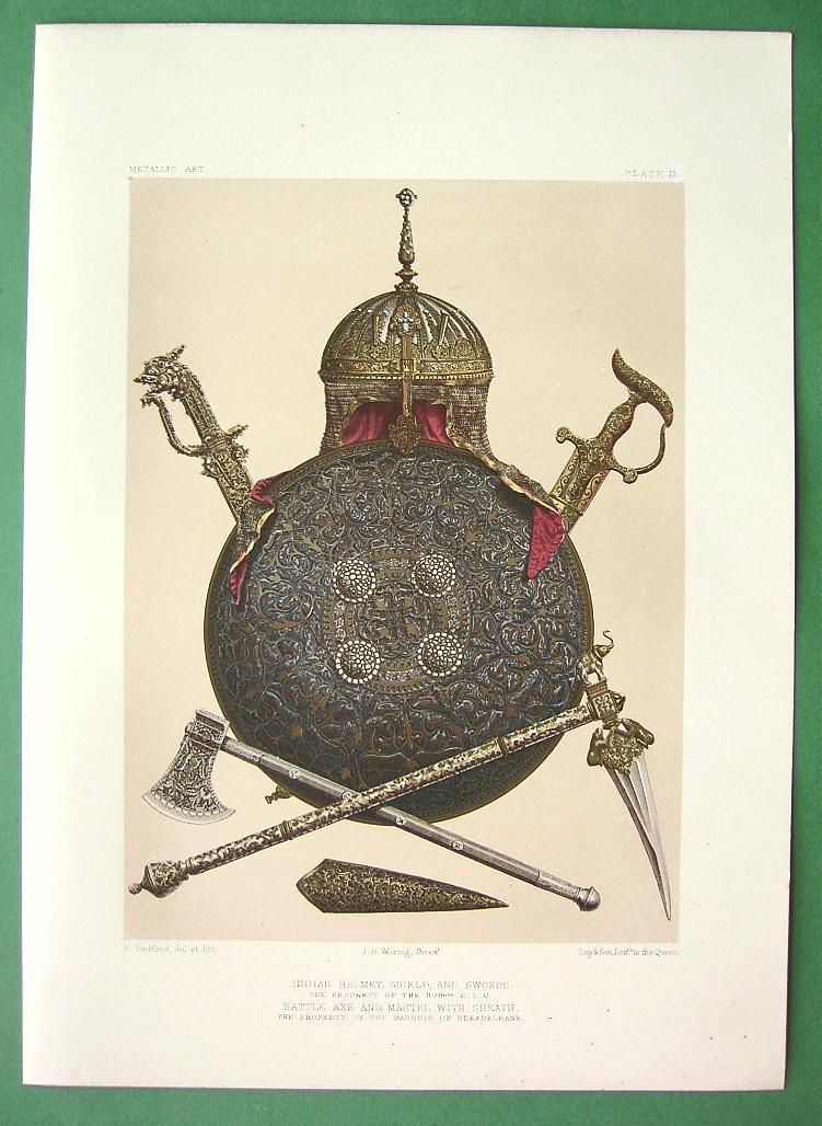 File:Indian Helmet, Shield and Swords, a print c1858.jpg ...