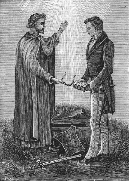 An 1893 engraving of Joseph Smith receiving the golden plates and other artifacts from the angel Moroni.