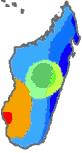 Madagascar climate map according to Köppen climate classification.