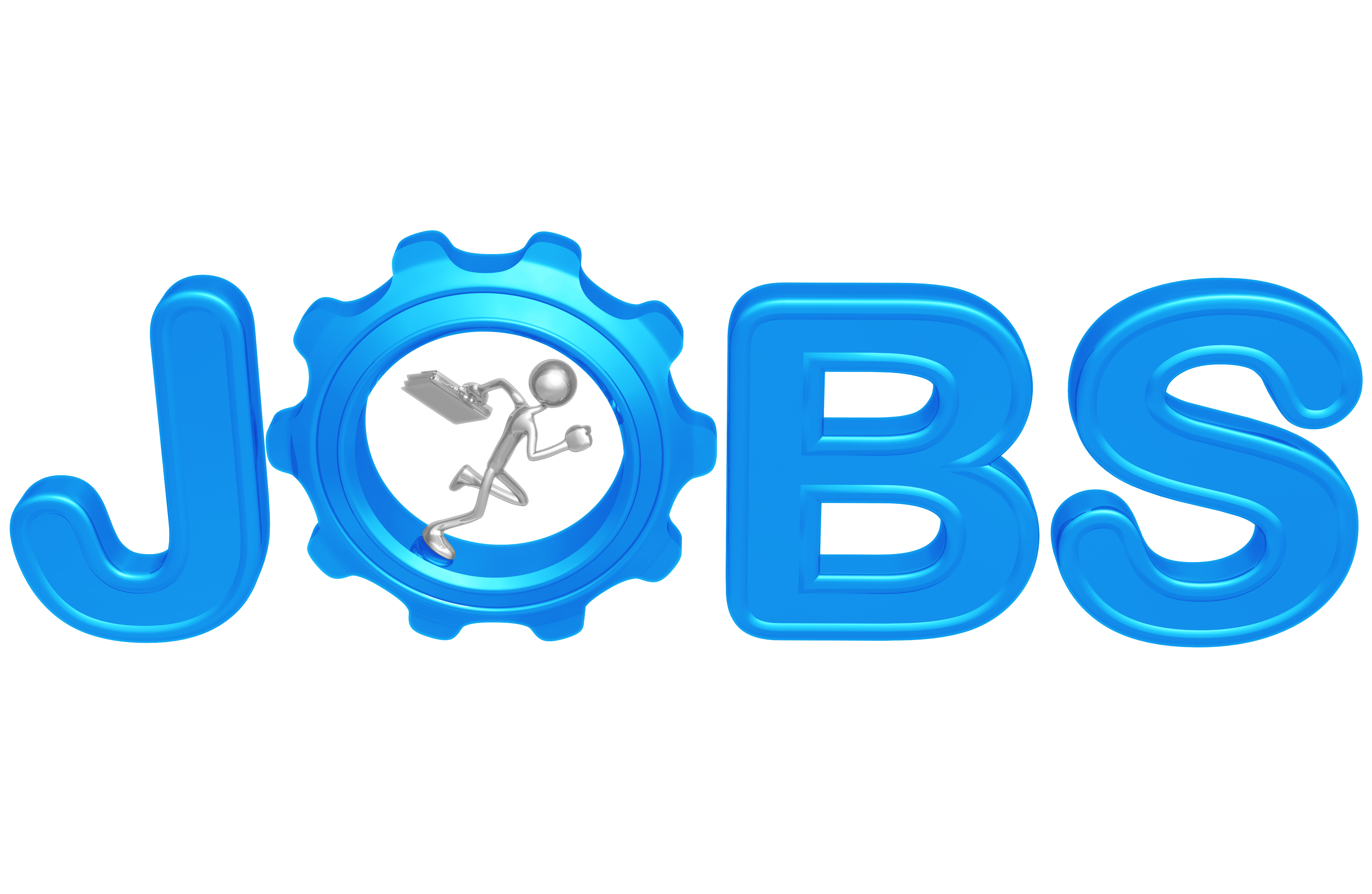 Bobcaygeon Kawartha Lakes JObs represented by Jobs in blue with o as a gear with a silver stickman running in the gear