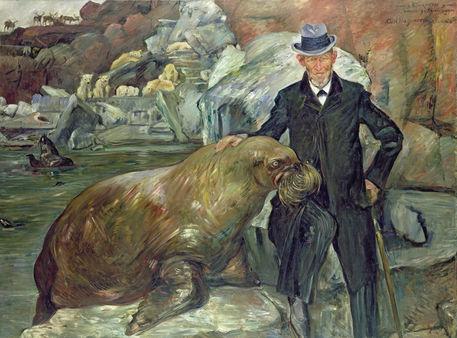Porträt Carl Hagenbeck mit dem Walroß - Lovis Corinth