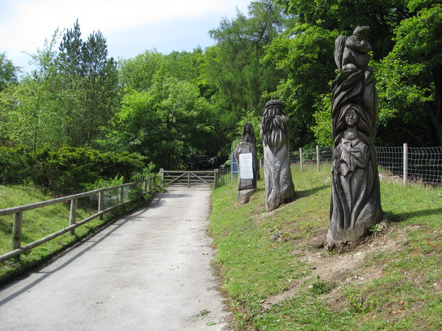 Matlock Bath - Heights of Abraham view and Wood Sculptures - geograph.org.uk - 823272